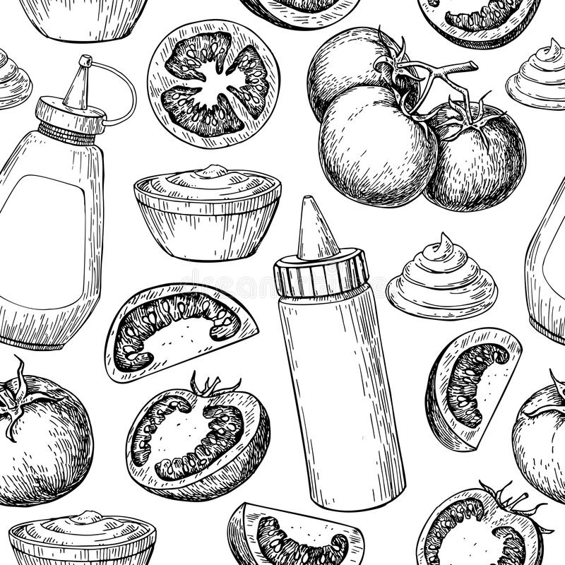 Бутылка соуса кетчуп с drawi вектора картины томатов безшовным бесплатная иллюстрация