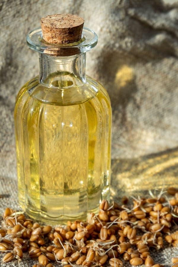 Бутылка с маслом семенозачатка пшеницы на деревянной предпосылке стоковые изображения rf