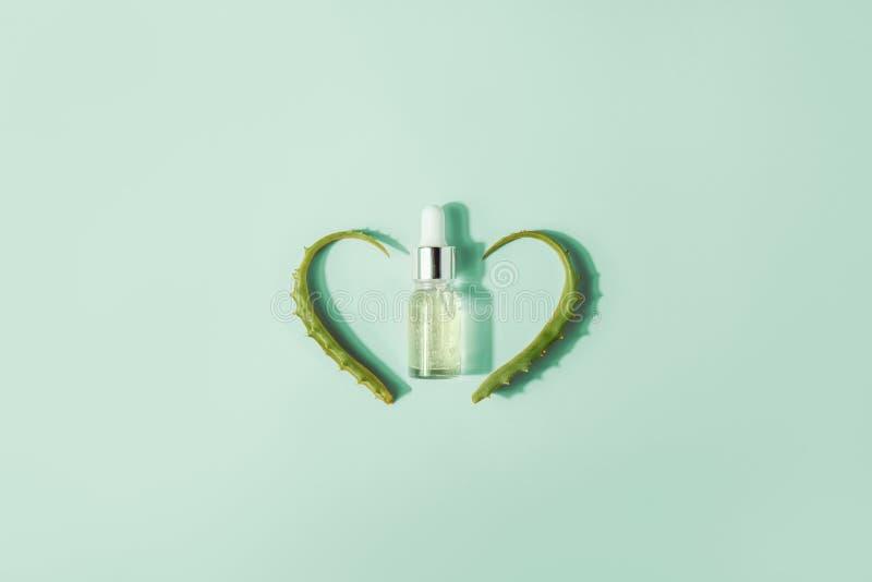 Бутылка с сывороткой, выдержкой с листьями vera алоэ Косметические процедуры для стороны и тела стоковое фото