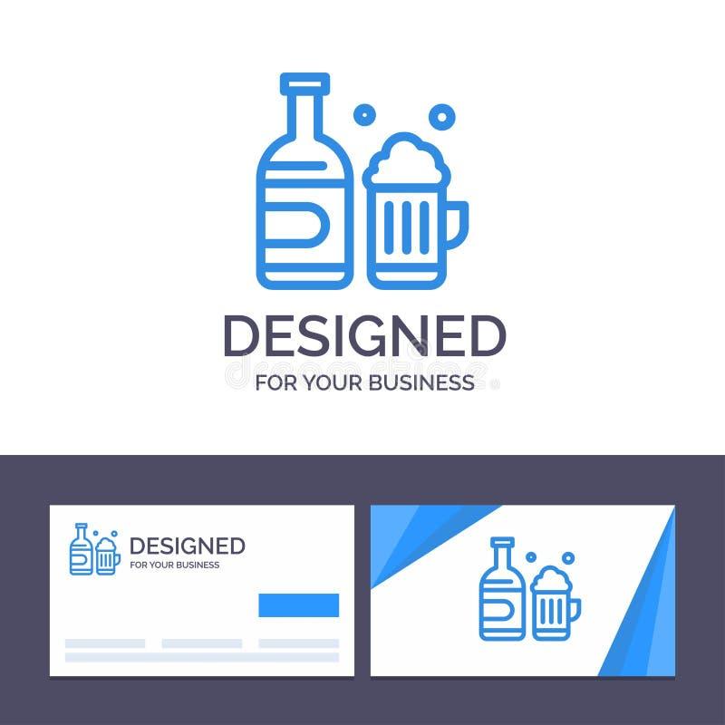 Бутылка творческого шаблона визитной карточки и логотипа, пиво, чашка, иллюстрация вектора Канады иллюстрация штока