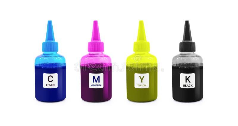 Бутылка чернил CMYK для машины принтера на изолированной предпосылке с путем клиппирования стоковая фотография