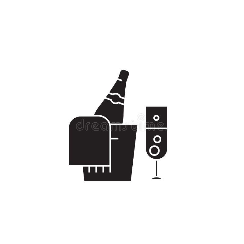 Бутылка Шампань и стеклянный черный значок концепции вектора Бутылка Шампань и стеклянная плоская иллюстрация, знак иллюстрация вектора