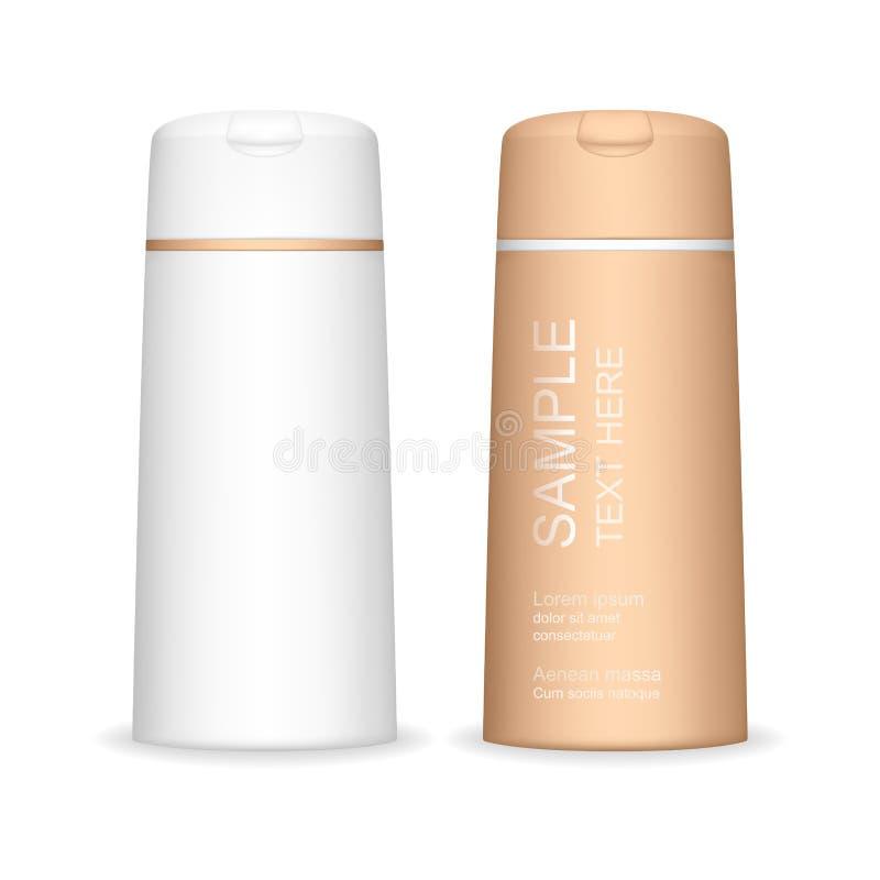 Бутылка шампуня изолированная на белой предпосылке Косметический контейнер для жидкости, лосьона, пены ванны Пакет продукта красо бесплатная иллюстрация