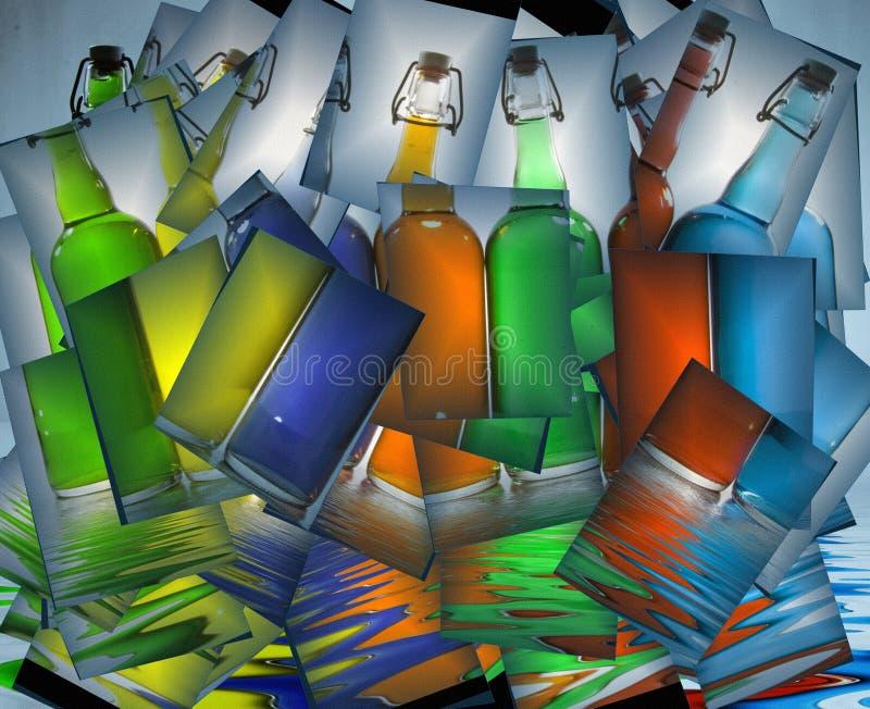 Бутылки заполненные цветом иллюстрация вектора
