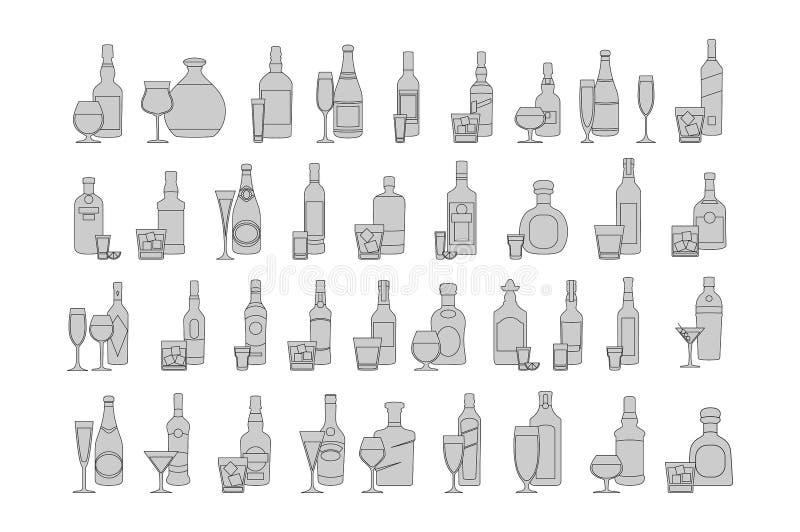 Бутылки и стекла выравнивают иллюстрацию вектора черного значка установленную Торжество праздника Напитки алкоголя на белой предп бесплатная иллюстрация