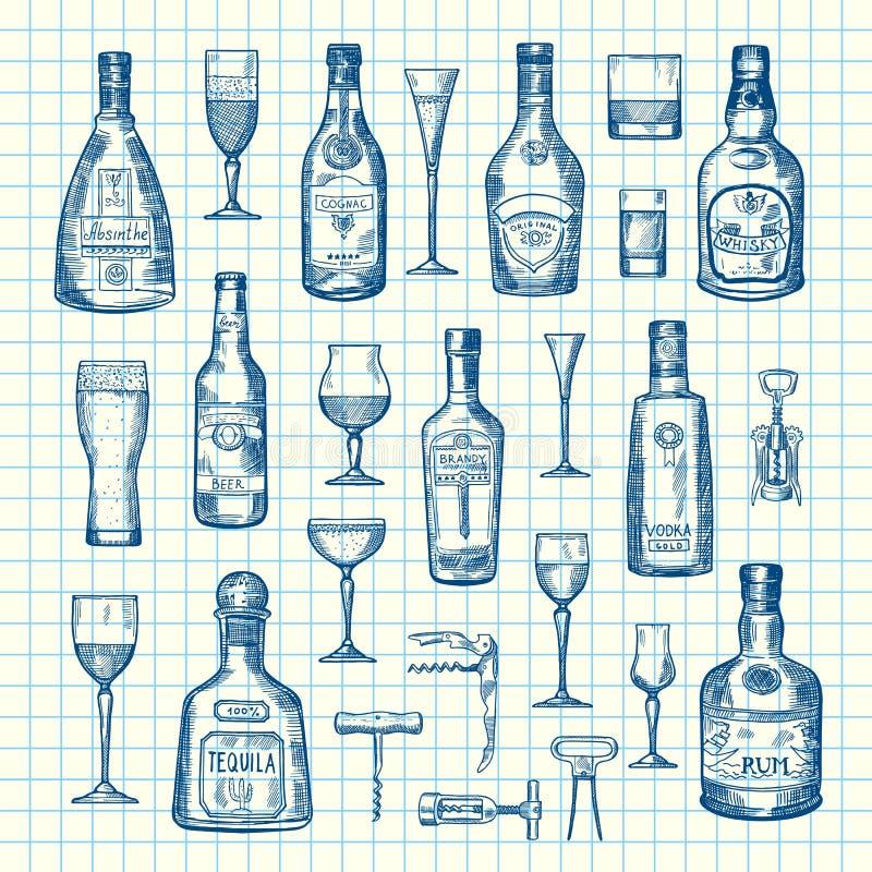 Бутылки и стекла питья спирта вектора нарисованные рукой установили на иллюстрации листа клетки иллюстрация штока