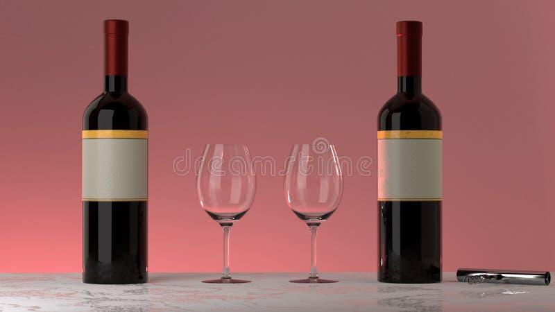 Бутылки красного вина, стекла, розовая предпосылка стоковые фотографии rf