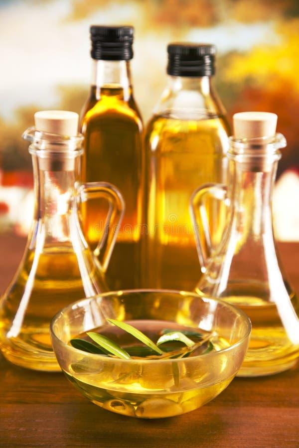 Бутылки оливкового масла и оливковое дерево стоковые изображения rf