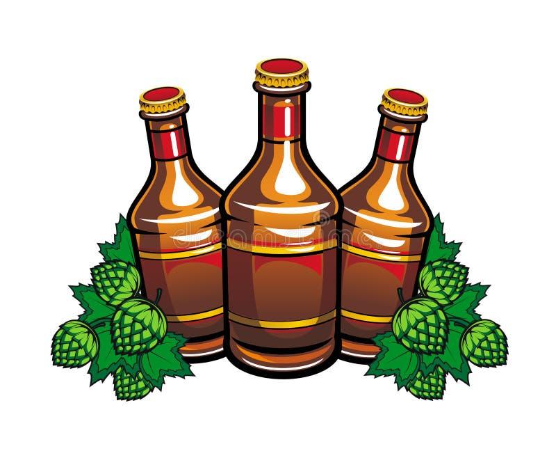 бутылки пива подпрыгивают листья иллюстрация штока