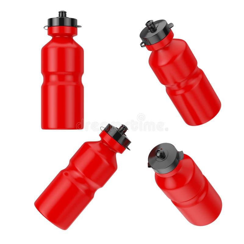 Бутылки питьевой воды красного спорта пластиковые в различном положении перевод 3d иллюстрация вектора