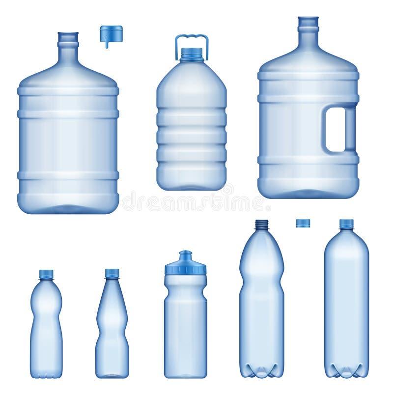 Бутылки с водой, реалистические пластиковые жидкостные контейнеры иллюстрация вектора