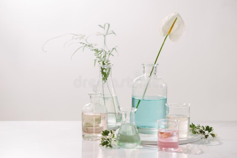 Бутылки с различными маслами духов на таблице стоковые фотографии rf