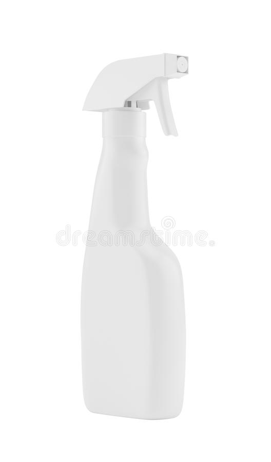 Бутылка белого пустого пластичного брызга детержентная изолированная на предпосылке Упаковывая собрание модель-макета шаблона иллюстрация вектора