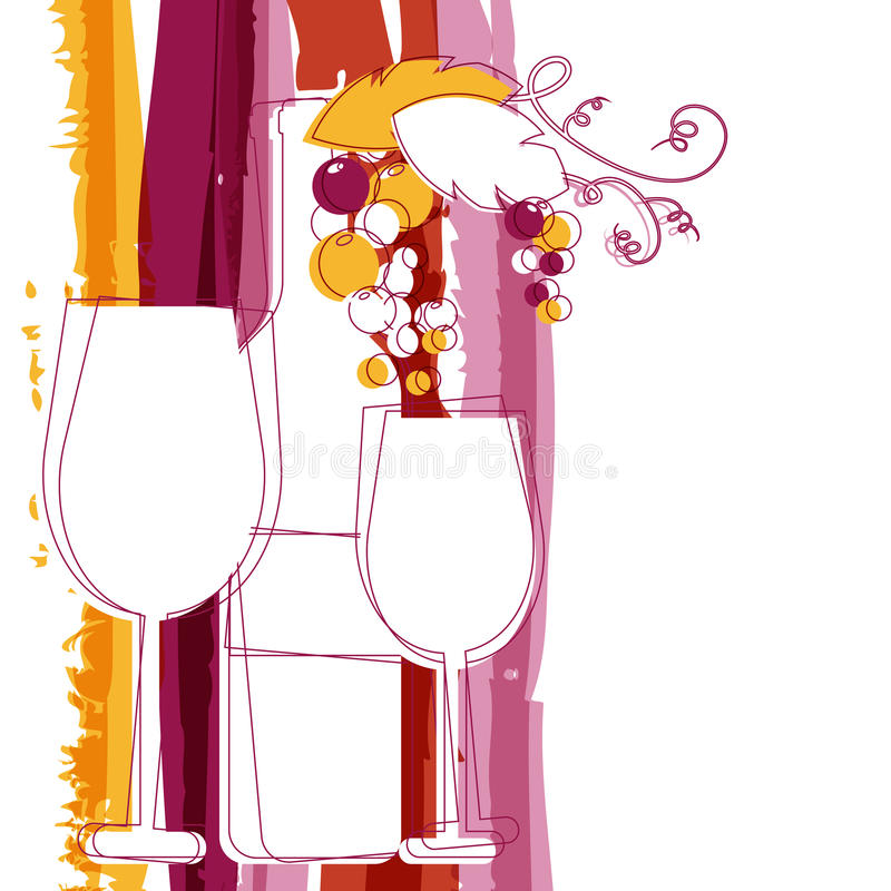 Бутылка вина, стекло, ветвь виноградины и marsala stripes watercol иллюстрация штока