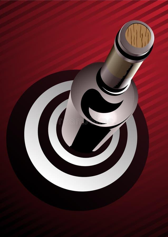 Бутылка вина стоя на цели иллюстрация штока