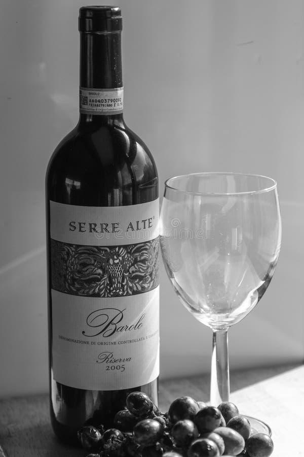 Бутылка вина с стеклом и виноградинами стоковое изображение
