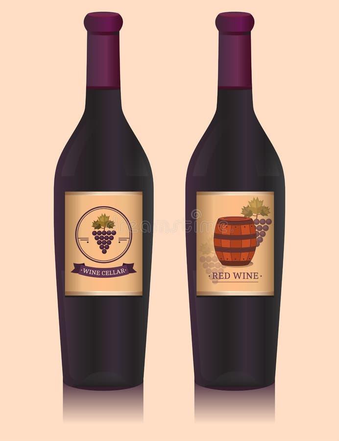 Бутылка вина с ярлыком иллюстрация вектора