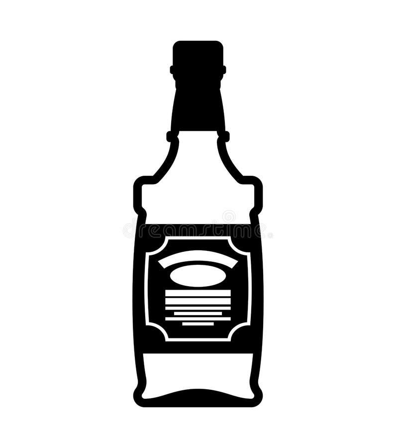 Бутылка вискиа изолированный бербон текила на белой предпосылке бесплатная иллюстрация