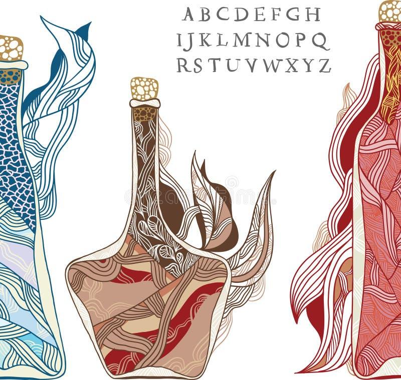 Бутылка волшебной лозы иллюстрация штока
