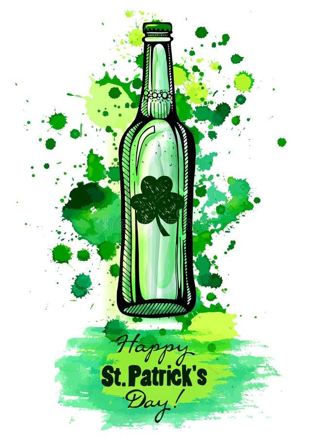 Бутылка зеленого пива, дня ` s Patrick стоковое изображение rf