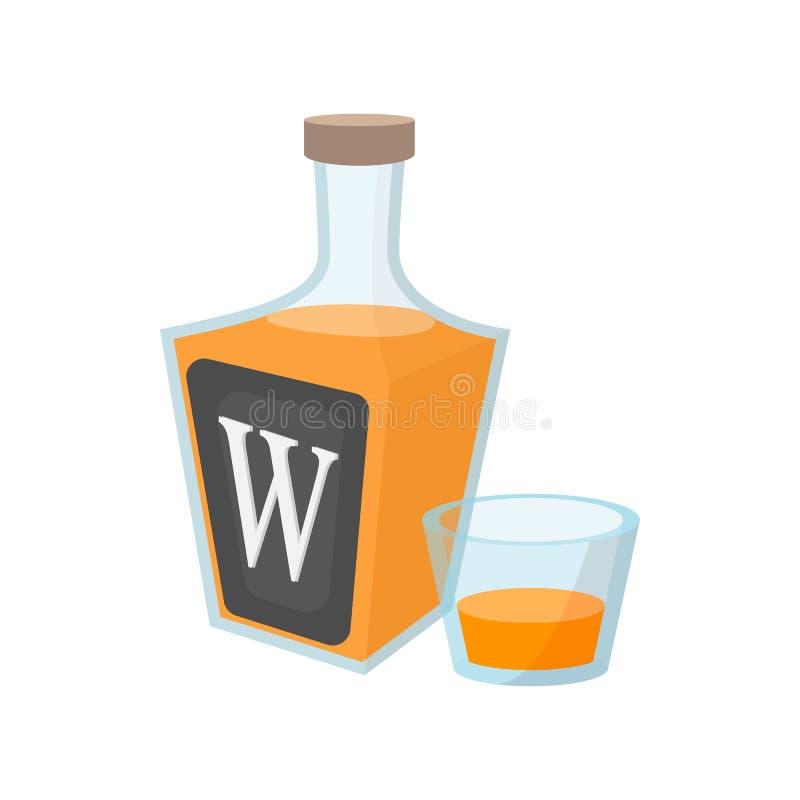 Бутылка значка шаржа вискиа иллюстрация вектора