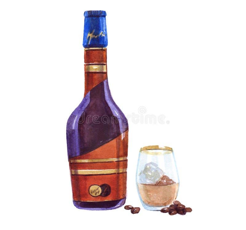 Бутылка ликвора стеклянный ликвор макрос кофе завтрака фасолей идеально изолированный над белизной изолированная иллюстрация аква иллюстрация вектора