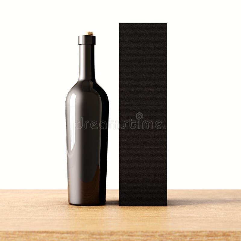 Бутылка крупного плана одного прозрачная серая стеклянная вина на деревянном столе, белой предпосылки стены Пустой стекловидный к бесплатная иллюстрация