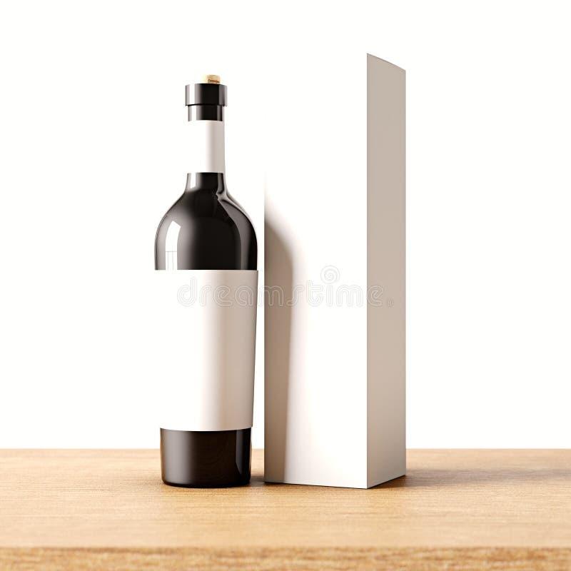 Бутылка крупного плана одного прозрачная черная стеклянная вина на деревянном столе, белой предпосылки стены Пустой стекловидный  бесплатная иллюстрация