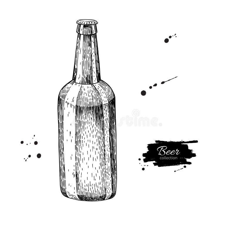 Бутылка пива стеклянная с выплеском Иллюстрация вектора стиля эскиза иллюстрация штока