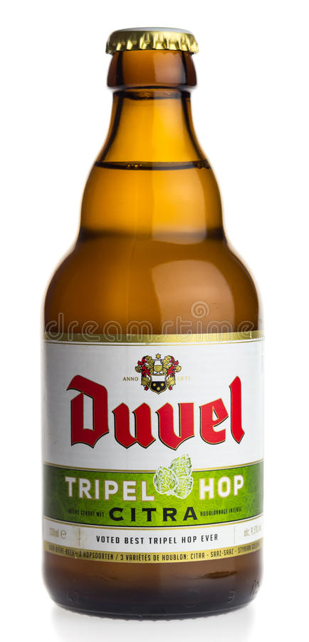 Бутылка пива Citra хмеля Duvel Tripel бельгийца стоковое изображение