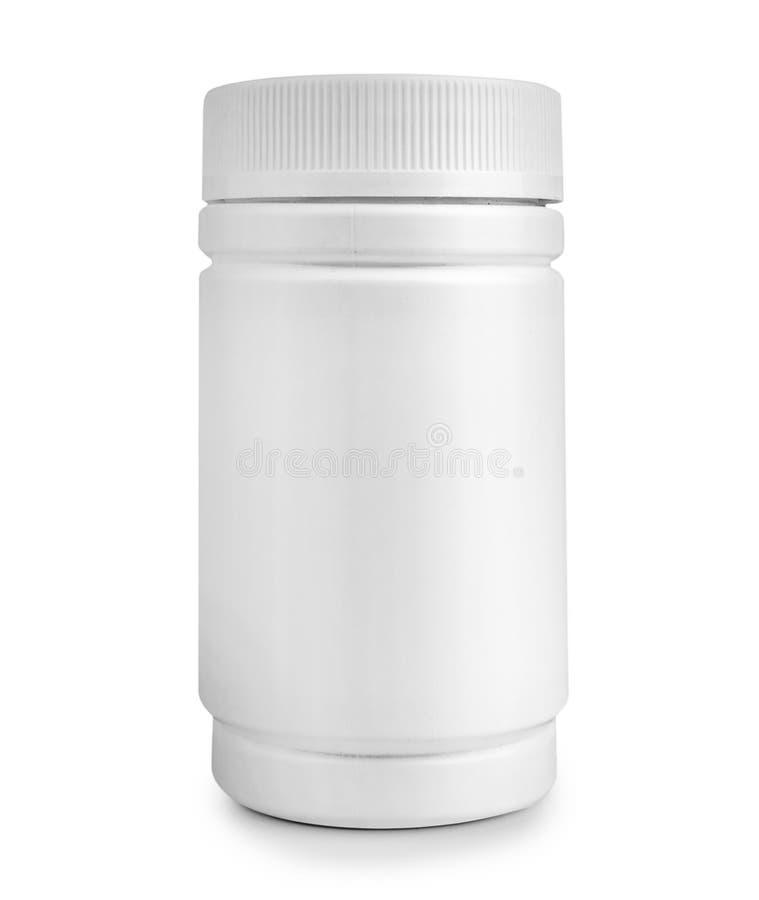 Бутылка пилюльки медицины белая изолированная на белой предпосылке стоковые изображения rf
