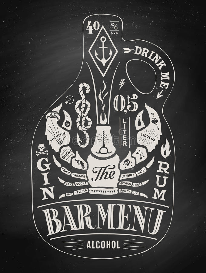 Бутылка плаката спирта с литерностью нарисованной рукой бесплатная иллюстрация