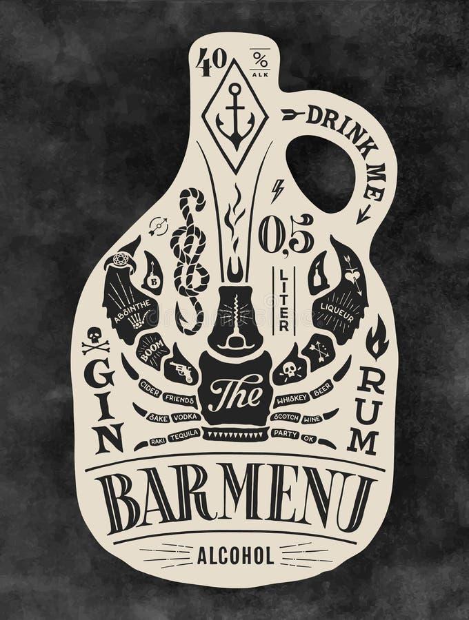 Бутылка плаката спирта с литерностью нарисованной рукой иллюстрация вектора