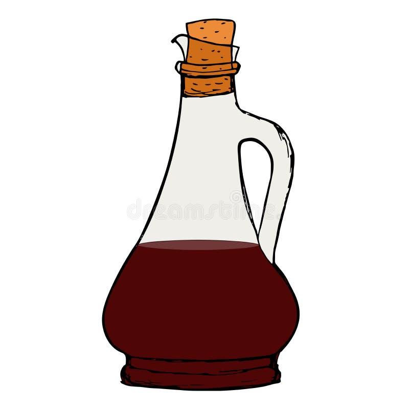 Бутылка соуса бальзамического уксуса с пробочкой иллюстрация штока