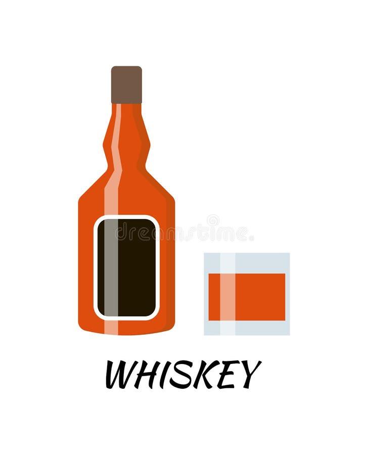 Бутылка спирта водочки в плоском стиле Иллюстрация вектора значка бесплатная иллюстрация