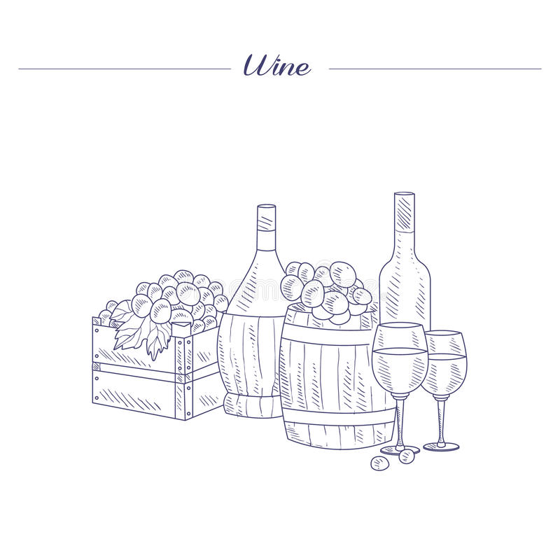 Бутылка, стекло и клеть вина эскиза виноградин нарисованного рукой реалистического иллюстрация вектора