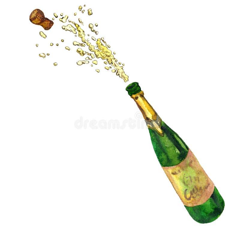 Бутылка с брызгать шампанское бесплатная иллюстрация