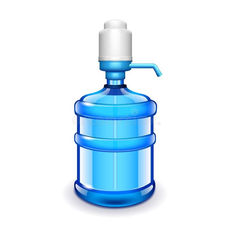 Бутылка с водой офиса при помпа изолированная на белом векторе иллюстрация штока