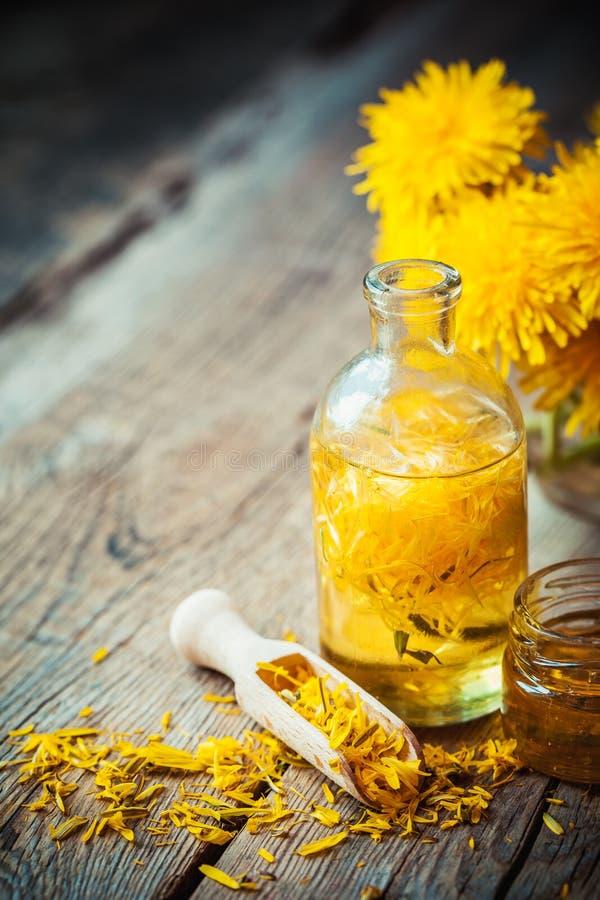 Бутылка тинктуры или масла одуванчика, пука цветка и меда стоковая фотография