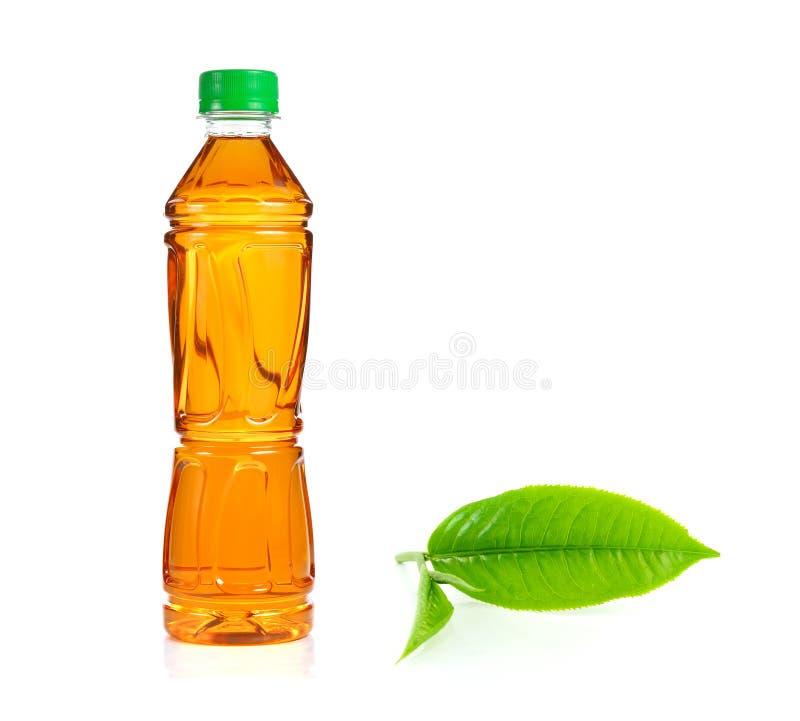 Бутылка чая льда и зеленого чая на белой предпосылке стоковые фото
