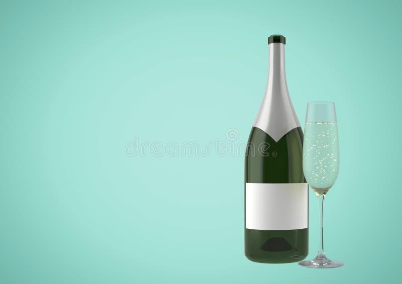 бутылка 3D вина с стеклом шампанского против зеленой предпосылки бесплатная иллюстрация
