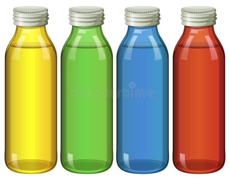 4 бутылки в других цветах бесплатная иллюстрация