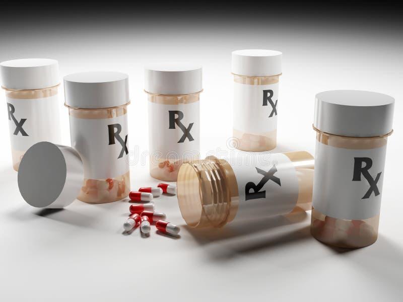 Бутылки лекарства рецепта с пилюльками стоковые фотографии rf
