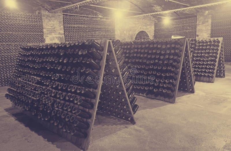 Бутылки игристого вина заквашивая в погребе винодельни стоковые фото