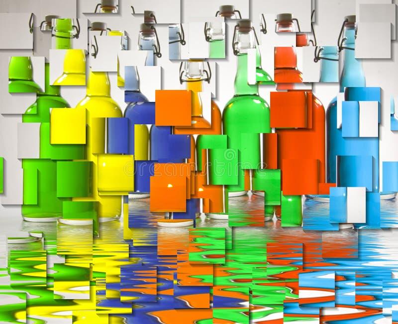 бутылки красят заполнено иллюстрация вектора