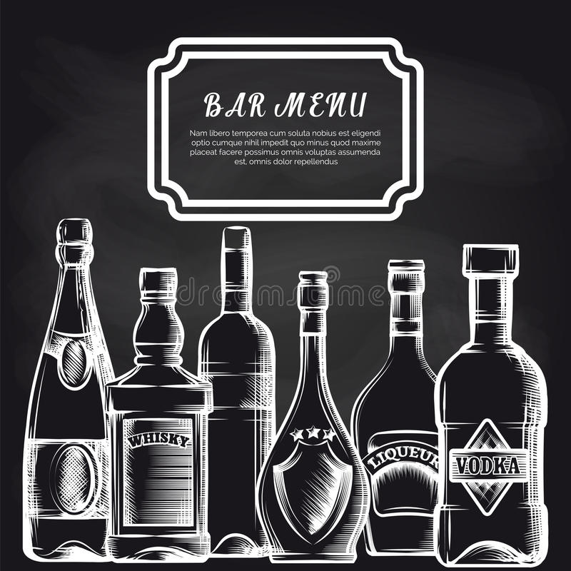 Бутылки на предпосылке меню бара доски иллюстрация штока