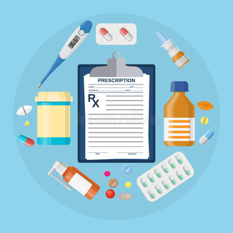 Бутылки пилюлек, таблетки с медицинским рецептом бесплатная иллюстрация