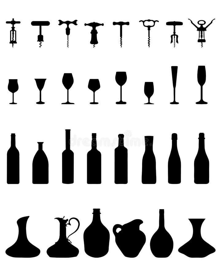 Бутылки, стекла и штопор бесплатная иллюстрация