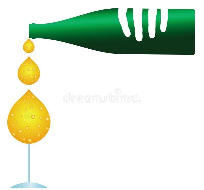Бутылочное стекло Шампани иллюстрация вектора