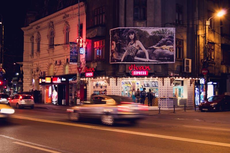 БУХАРЕСТ, РУМЫНИЯ - 2-ОЕ АПРЕЛЯ: Магазин дивана срочный восточный около квадрата Romana 2-ого апреля 2015 в Бухаресте, Румынии стоковые изображения